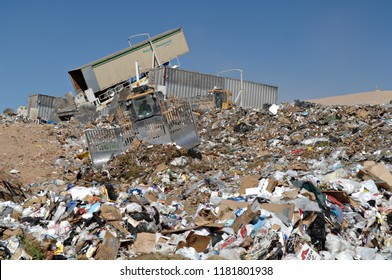 Buckeye, Arizona - October 16, 2006: Equipment Working to Control Landfill Waste in Arizona