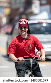 Buckhannon, West Virginia, USA - May 18, 2019: Strawberry Festival, Member of the Osiris Temple, riding a mini car during the parade