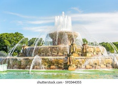 Buckingham Memorial Fountains in Grant Park in Illinois on a hot summer day in Chicago, USA