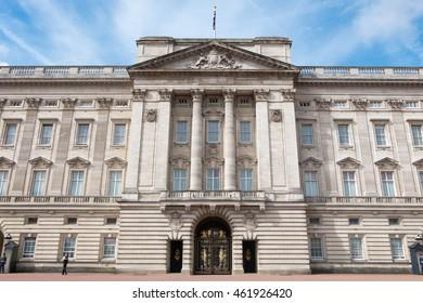 Buckingham Palace with blue sky