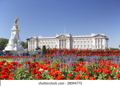 Buckingham Palace With Flowers Blooming In The Queen's Garden, London, England