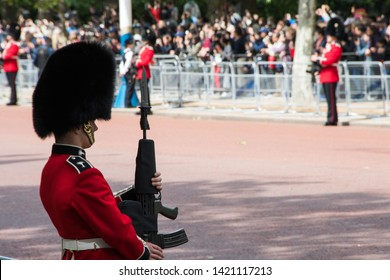 Buckingham Palace, The Mall, London UK -June 2019 : Trooping the Colour Queen Elizabeth parade Queen Elizabeth Birthday UK - stock photo photograph image press picture - Image