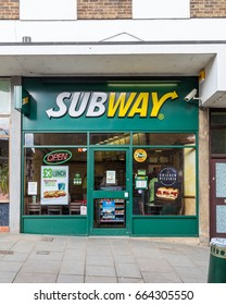 BUCKINGHAM, UK - 6TH MARCH 2015: The outside Subway fast food branch in Buckingham during the day.