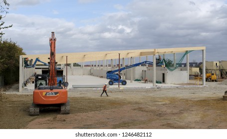 Buckingham, UK - August 19, 2018. Building site of a new Lidl supermarket under construction in Buckingham, UK. The company aims to have 1000 stores across the UK by 2022.