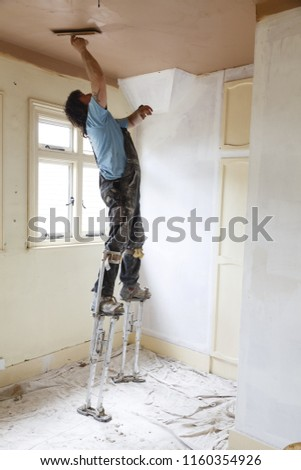 Buckingham UK May 07 2015 Plasterer Stock Photo (Edit Now