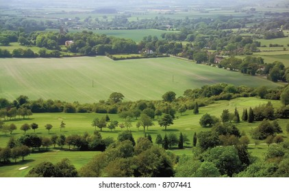 Buckinghamshire Chilterns. The View over the Vale of Aylesbury from Coombe hill on the Ridgeway path.