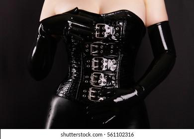 Buckle Black PVC Latex Corset Fashion Fetish BDSM Long Rubber Gloves