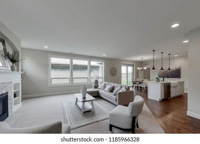 Buckley, WA / USA - Sept. 20, 2018: Modern living room and kitchen interior