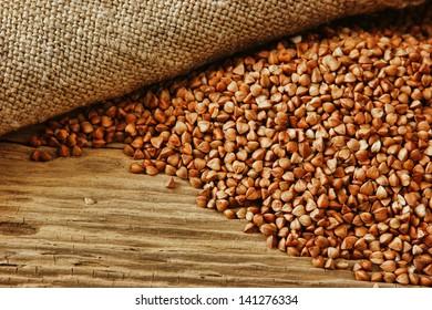 buckwheat groats on a wooden table