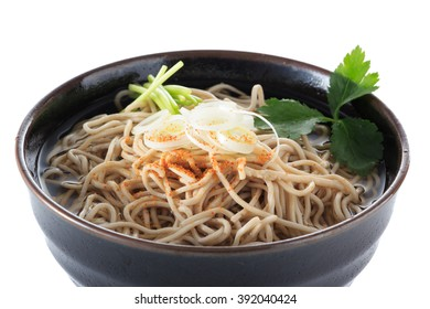 buckwheat noodle in simple hot soup