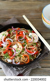Buckwheat noodles with shrimp, delicious food