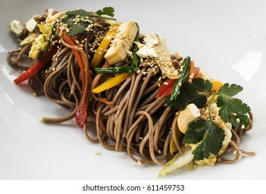 "Buckwheat noodles ""Soba"" with vegetables"