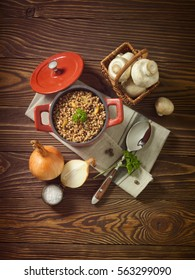 buckwheat porridge with field mushrooms and onion