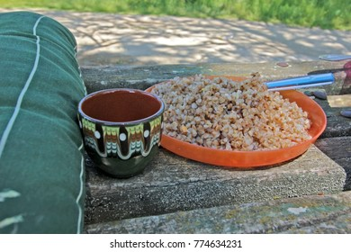 Buckwheat porridge in a plate on an old wooden bench - healthy picnic