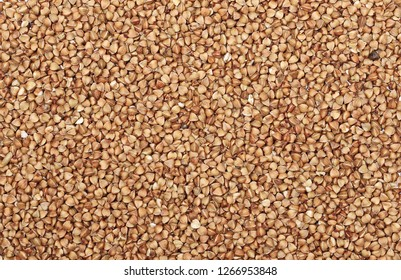 Buckwheat and texture background, with top view