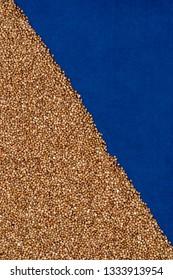 Buckwheat texture, blue textured cloth, diagonal