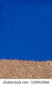 Buckwheat texture, blue textured cloth