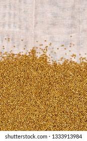 Buckwheat texture on homespun cloth