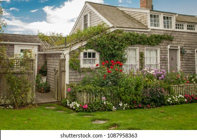 Bucolic cottage scene in Siasconset village, Nantucket, MA