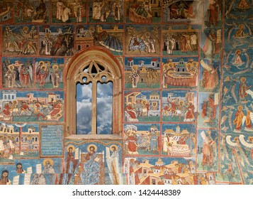 Bucovina, Romania - August 5th, 2018: A detail of the Voronet monastery, one of the famous painted monasteries of Bucovina, Romania