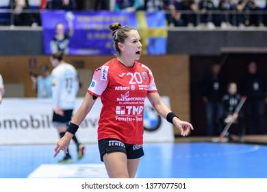Bucuresti, Romania - March 08,2019: The handball player BÖLK Emily during the game between CSM Bucuresti vs Thüringer HC ( 23 - 23 ) for 2018/2019 Women's  EHF Champions League MR