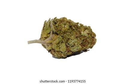 A Bud of Marijuana on a White Background