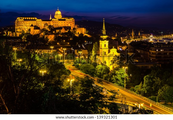 Buda Castle from Budapest at night saw from Gellert Hill.
