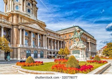 Buda Castle and equestrian  statue of Prince Eugene of Savoy in Budapest, Hungary