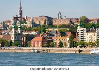 Buda Castle, FSt. Matthias church and Fishermen's Bastion viewed from Danube river