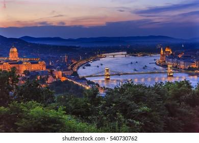 Buda Palace Parliament Chain Bridge Danube River Boats Night Budapest Hungary Night View from Citadel