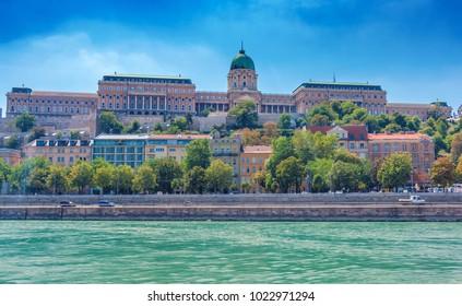 Buda Royal castle building in Budapest above Danube river in Hungary
