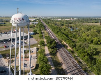 Buda, TX/USA - April 11 2018: Downtown Buda and Water Tower