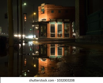 Buda, TX/USA - February 23 2018: Heavy rain downtown in the early hours of the morning.
