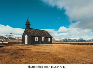 Budakirkja or black church of budir vintage tone in Iceland