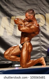 BUDAORS, HUNGARY - JUNE 10: Molnar Peter participates in WBPF bodybuilding World Cup -100 kg category on June 10, 2012 in Budaors, Hungary