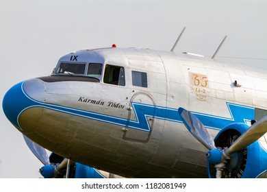 BUDAORS, HUNGARY - Sept 2 2018: Li-2 aircraft  Ha LIX  This aircraft is about 65  years old. Was built by the Soviets under license of a DC 3.