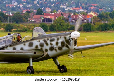 Budaors Hungary - Sept 2 2018: WW II fighter replicas preforming on the airshow.