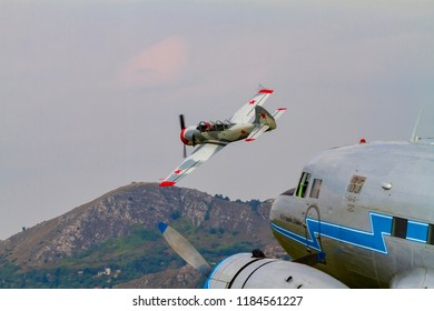 Budaors, Hungary - Sept 2 2018: Li-2 aircraft Ha LIX This aircraft is about 65 years old. Was built by the Soviets under license of a DC 3 and WWII fighter replica perfoming.