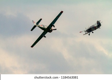 Budaors Hungary Sept 2 2018:  Replica WWII fighter performing a simulated dog fight over the sky.