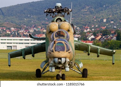 Budaors Hungary Sept 2 .2018  Mi-24 attack Helicopter on display during the Air Show.