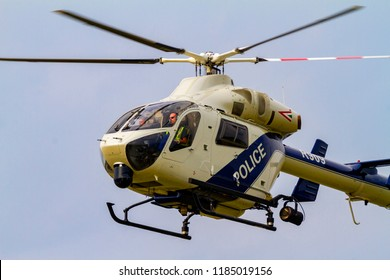 Budaors Hungary - Sept 2 2018: Budapest Police Special service chopper performing on the airshow.