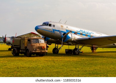 Budaors Hungary - Sept 2 2018: Li-2 aircraft Ha LIX  refueling. This aircraft is about 65 years old. Was built by the Soviets under license of a DC 3.