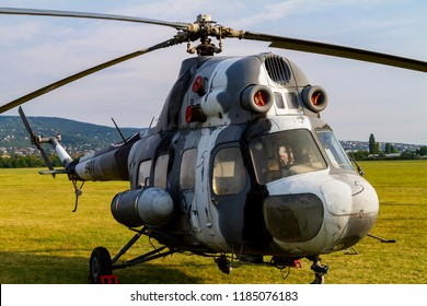 BUDAORS, HUNGARY - Sept 2 2018: Mi troop carrier choppers on display.