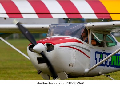 BUDAORS, HUNGARY - Sept 2 2018: A Cessna light Aircraft on the Air Show.