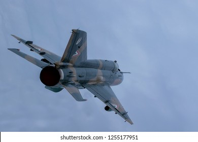 Budaors Hungary - Sept 2 2018: Mig 21 veteran fighter jet from the  Cold War area.  This is the last flying MIG 21 from the Hungarian Airforce.