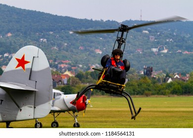 Budaors Hungary Sept 2 2018:A new prototype helicopter at the show. The test pilot  taking the chopper for her maiden flight .