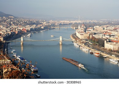 Budapest aerial view with Danube river