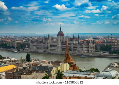 Budapest against the background of clouds in Hungary.