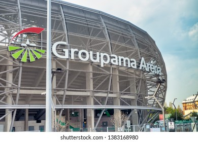 BUDAPEST - APRIL 3, 2019: Groupama Arena exterior view. With a capacity of 22,000, Groupama Arena is temporarily the largest stadium in Hungary.