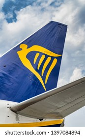 BUDAPEST - APRIL 3, 2019: Ryanair airplane in the runway. Ryanair is the major low cost carrier in Europe.